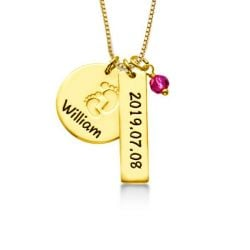 14K Gold Plated Baby Feet Charm Necklace With Birthstone