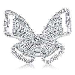 Pear & Baguette Double Butterfly Ring Set