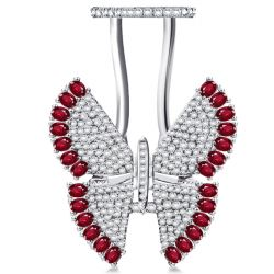 Pave Setting Ruby Movable Butterfly Ring