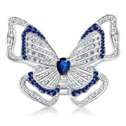 Pear Cut Double Butterfly Created White & Blue Sapphire Ring Set
