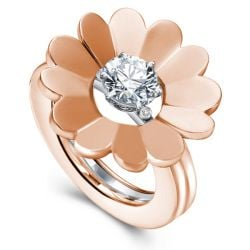 Rose Gold Round Cut Solitaire Flower Design Wedding Set