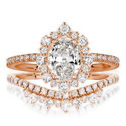 Rose Gold Halo Oval Cut Bridal Set