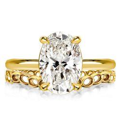 Golden Oval Cut Bridal Set