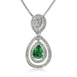 Double Halo Pear Cut Green Pendant Necklace