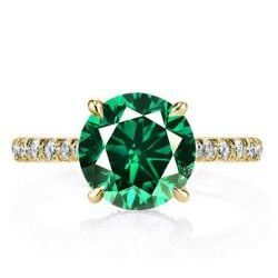 Classic U-Pave Round Cut Golden Engagement Ring