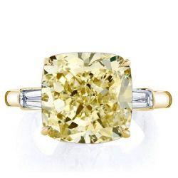 Golden Three Stone Cushion Cut Yellow Sapphire Engagement Ring