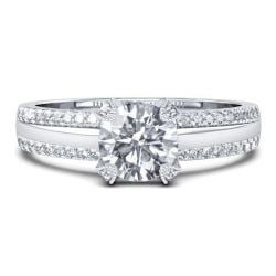 Double Row Pave Band Engagement Ring (0.98 CT. TW.)