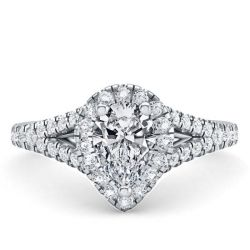 Halo Pear Split Shank Engagement Ring