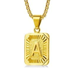 14K Gold Plated Initials Pendant Necklace