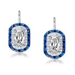 Luxury Blue Double Halo Cushion Drop Earrings