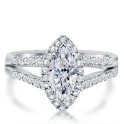 Split Shank Marquise Engagement Ring