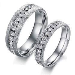 Dull Polish Titanium Steel Couple Rings
