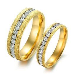 Dull Polish Yellow Gold Titanium Steel Couple Rings