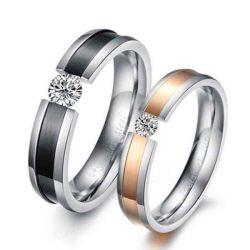 Classic Two Tone Titanium Steel Couple Rings