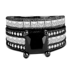 black sapphire wedding set