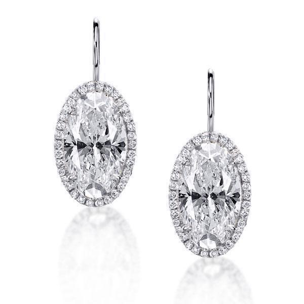 Halo Oval Cut Drop Earrings, White