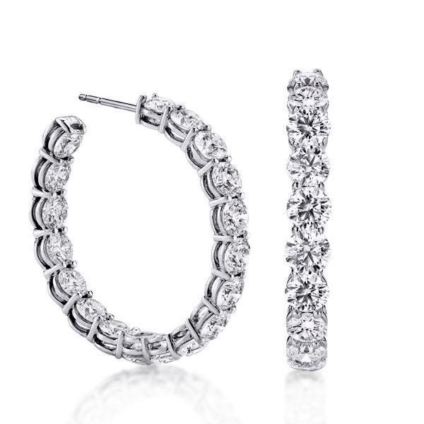 Classic Round Cut Pearl Hoop Earrings, White