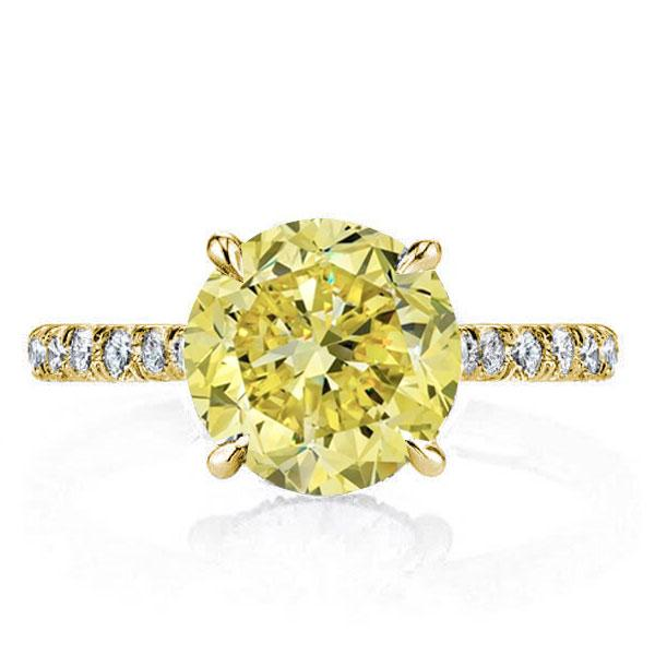 Classic Golden U-Pave Round Cut Yellow Engagement Ring, White