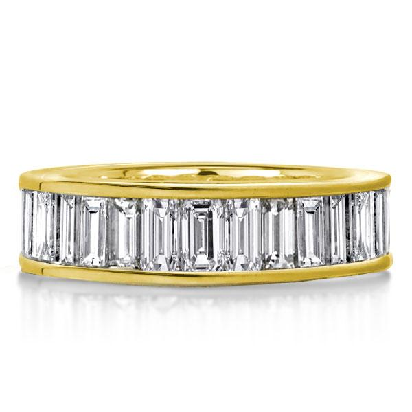 Eternity Golden Baguette Cut Wedding Band, White