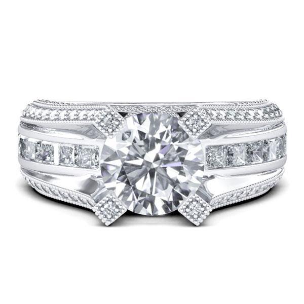 Milgrain Round Cut Engagement Ring (3.96 CT. TW.), White