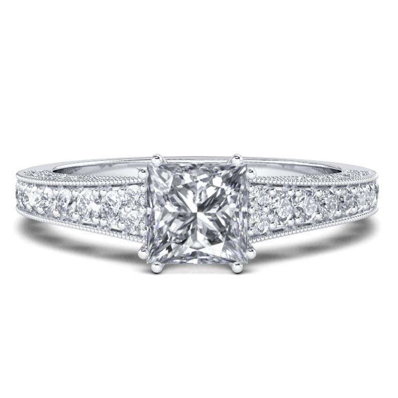 Italo Milgrain Created White Sapphire Engagement Ring