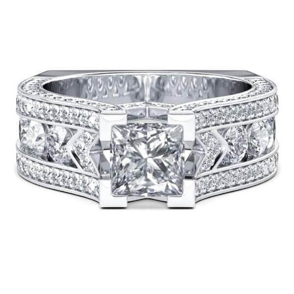 Cathedral Princess Cut Engagement Ring (2.46 CT. TW.), White
