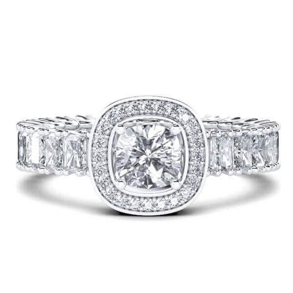 Eternity Halo Cushion Cut Engagement Ring (4.69 CT. TW.), White