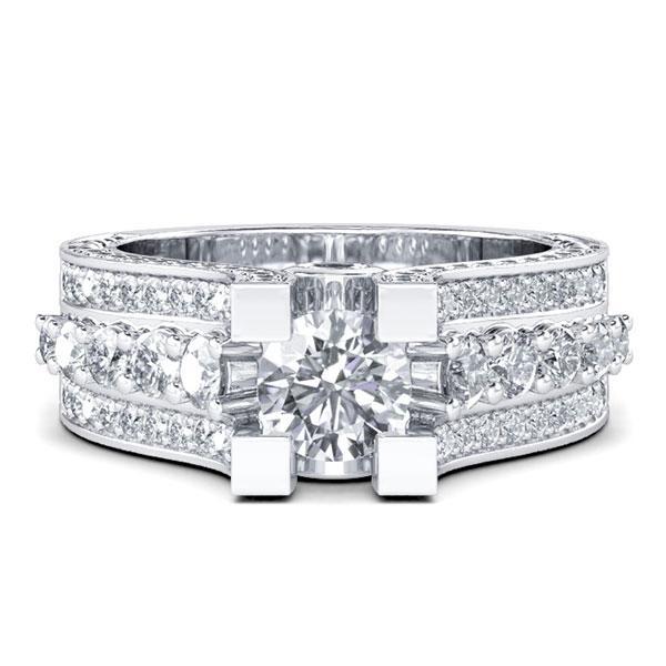 Italo Vintage Filigree Engagement Ring (2.10 CT. TW.), White