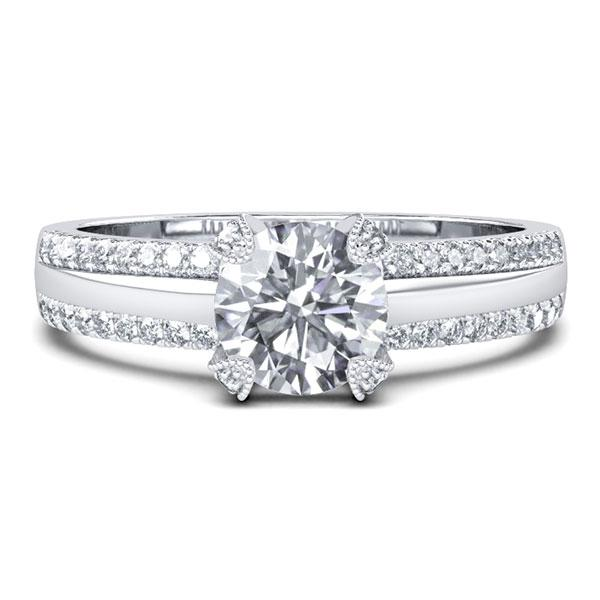 Double Row Pave Band Engagement Ring (0.98 CT. TW.), White