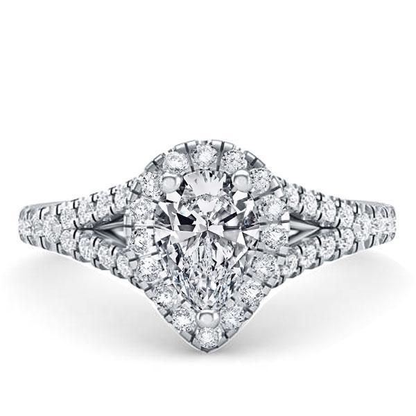 Halo Pear Split Shank Engagement Ring, White