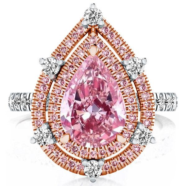 Double Halo Pear Pink Engagement Ring(6.65 CT. TW.), White