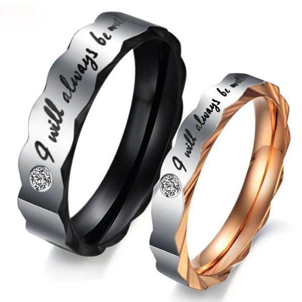 Two Tone Interwine Titanium Steel Couple Rings, White