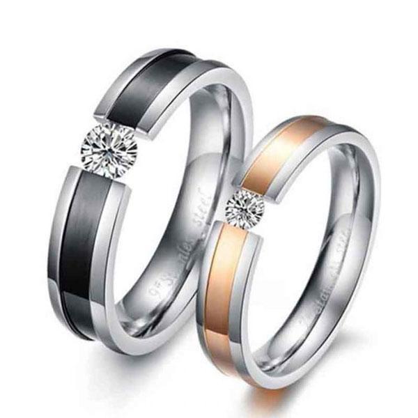 Classic Two Tone Titanium Steel Couple Rings, White