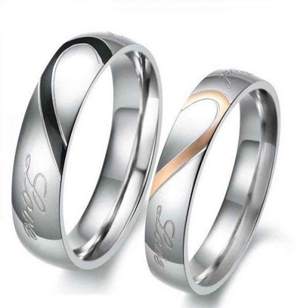 Italo Two Tone Heart Titanium Steel Couple Rings, White