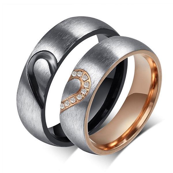 Never Apart Heart Design Titanium Steel Couple Rings, White