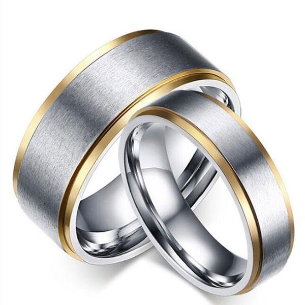 Italo Two Tone Polished Titanium Steel Couple Rings, White