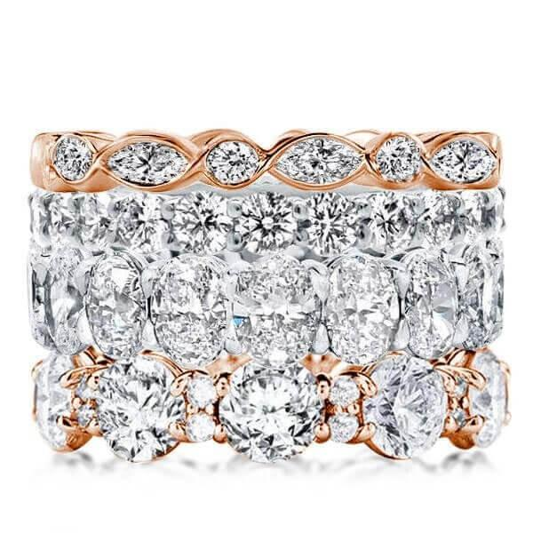 White Sapphire Stackable Band Set To Mark Your 5+ Year Anniversary
