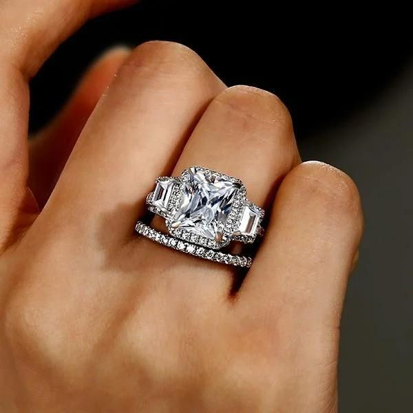 3 Stone Engagement Ring With Wedding Band That Declare Your Endless Love
